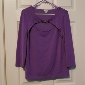 Lightweight lavender sweater with silver accent